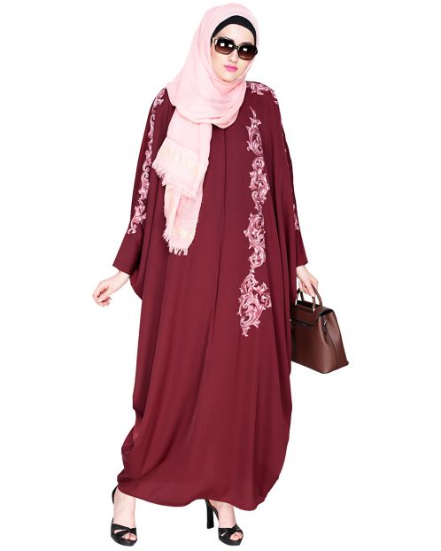 Dual Shade Floral Embroidered Wine Kaftan