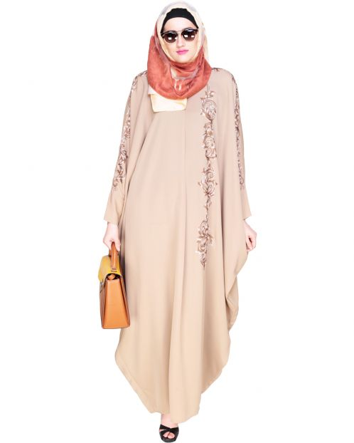 Dual Shade Floral Embroidered Beige Kaftan