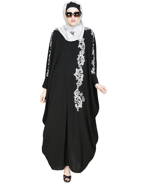 Dual Shade Floral Embroidered Black Kaftan