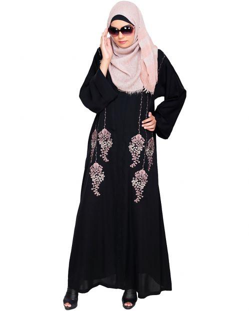 Floral Pendant Dubai Style Black Abaya