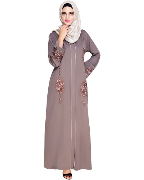 Appealing Brown Floral Embroidery Dubai Style Abaya