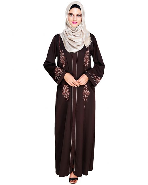 Appealing Dark Brown Floral Embroidery Dubai Style Abaya
