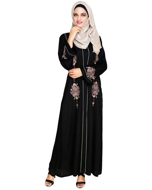Appealing Black Floral Embroidery Dubai Style Abaya