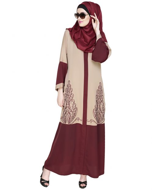 Eden  Dubai Style Beige and Wine Embroidered Abaya
