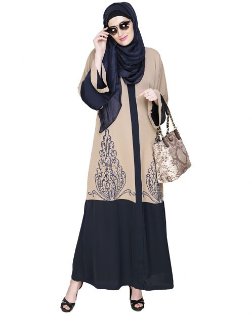 Eden Dubai Style Beige and Blue Embroidered Abaya