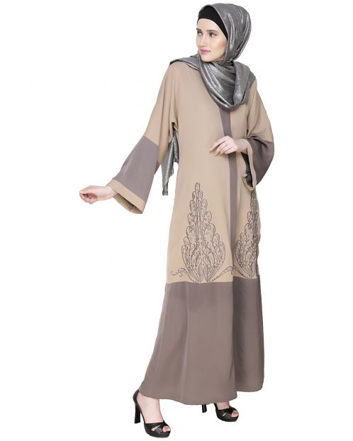 Eden  Dubai Style Beige and Grey Embroidered Abaya