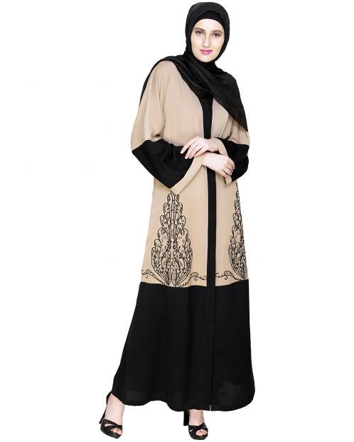 Eden Dubai Style Beige and Black Embroidered Abaya