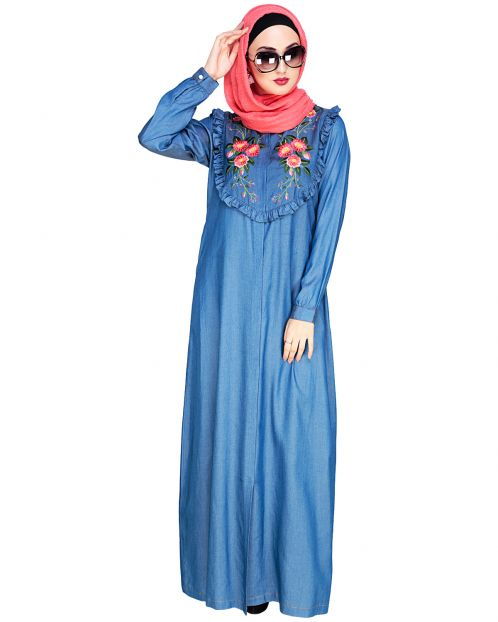 Ruffled Affair Blue Abaya