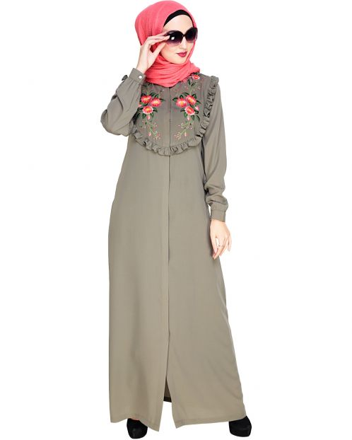 Ruffled Affair Dead Mint Abaya