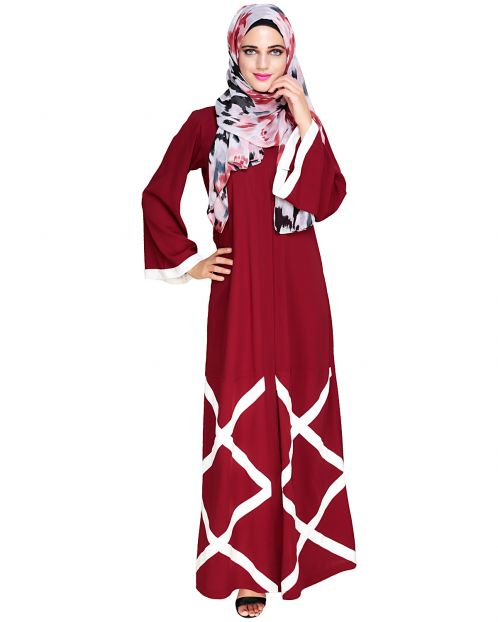 Criss Cross Detailing Wine Abaya