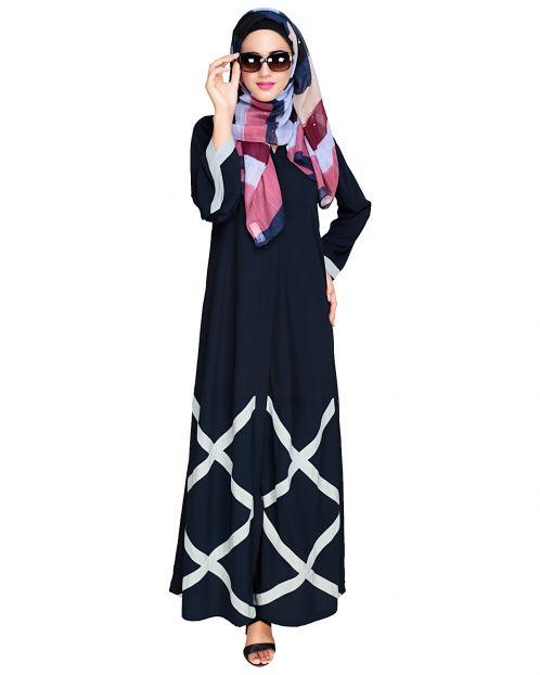 Criss Cross Detailing Blue Abaya