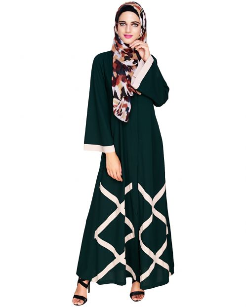 Criss Cross Detailing Bottle Green Abaya