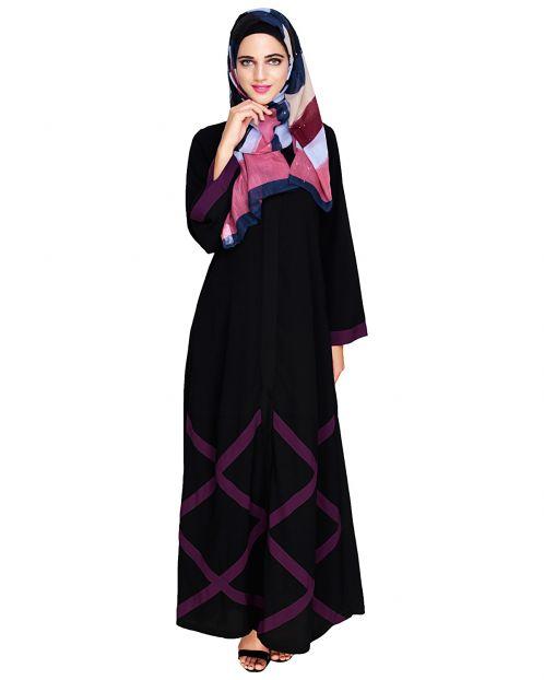Criss Cross Detailing Black Abaya