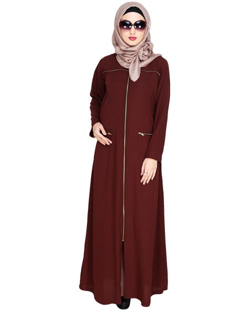 Metallic Zip Brown Abaya