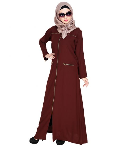 Metallic Zip Brown Abaya