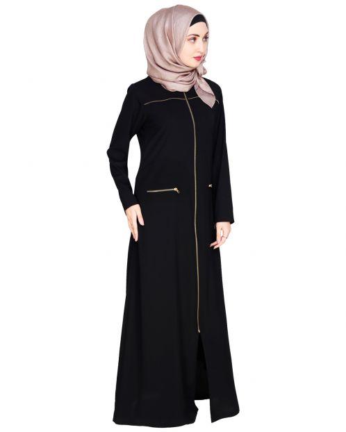 Metallic Zip Black Abaya