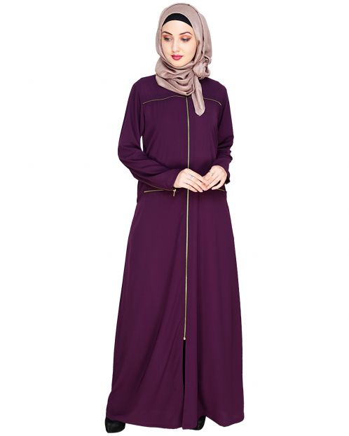 Metallic Zip Purple Abaya