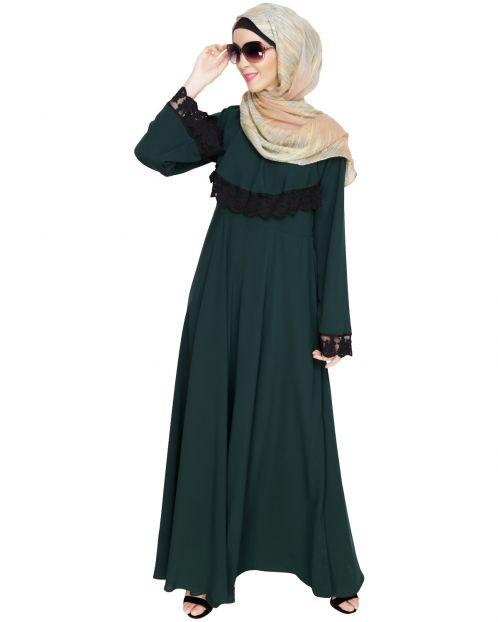 Flouncy Laced Green Abaya