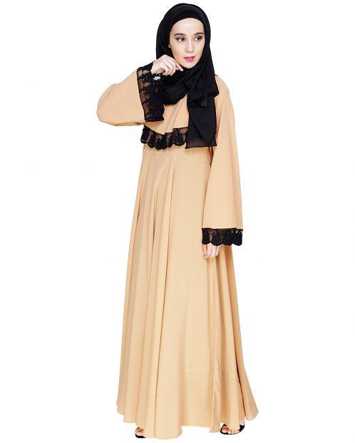 Flouncy Laced Dark Beige Abaya