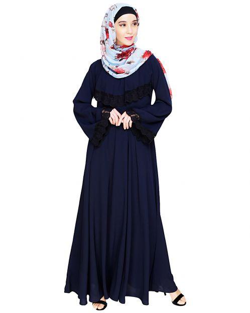 Flouncy Laced Blue Abaya