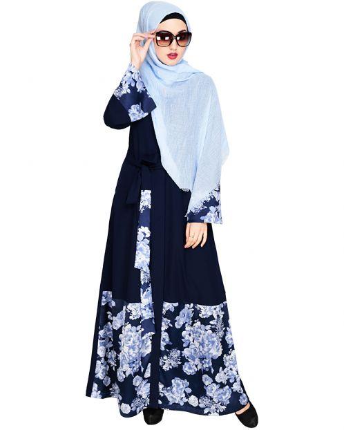 Premium Satin Dark Blue Abaya