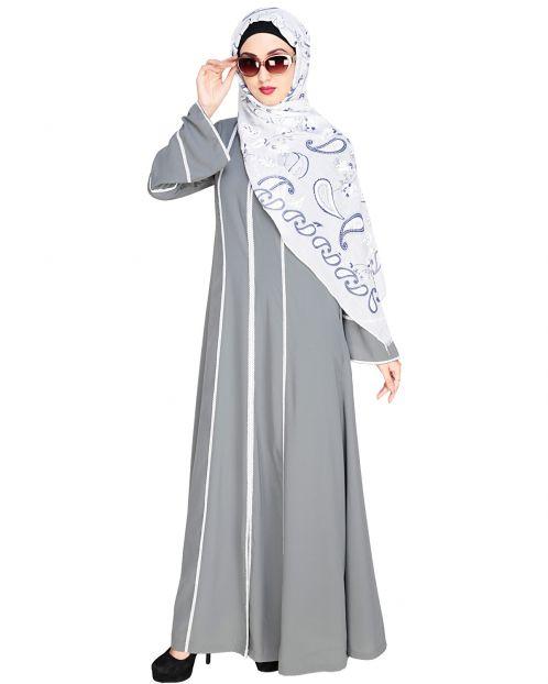 Snazzy Lace Grey Abaya