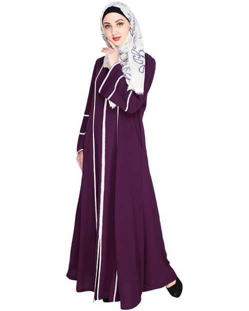 Snazzy Lace Purple Abaya