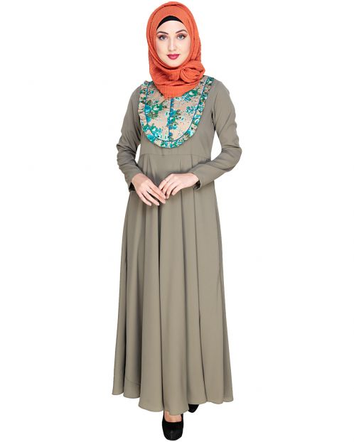 Fanciful Ruche Dead Mint Maxi Dress Abaya