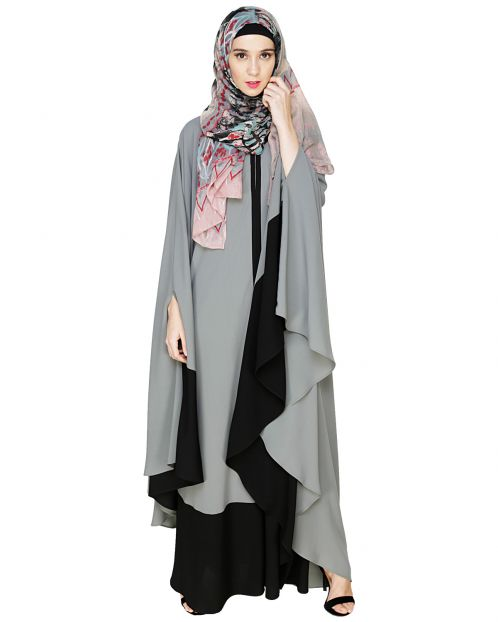 Colour Block Grey Irani Kaftan