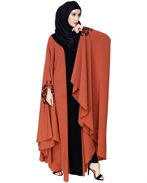 Delicate Embroidered Brick Red Irani Kaftan