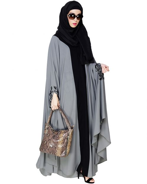 Delicate Embroidered Grey Irani Kaftan