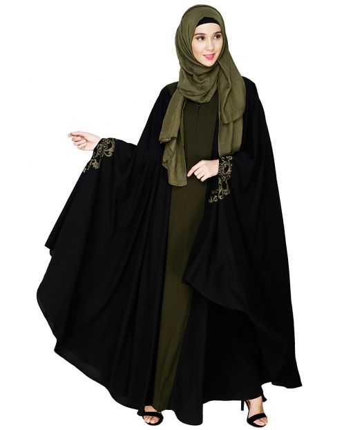Delicate Embroidered Black Irani Kaftan
