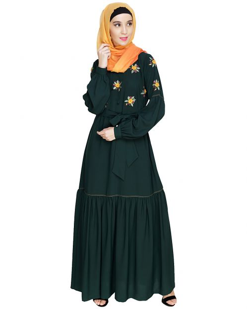 Dreamy Floral Embroiderd Green Abaya