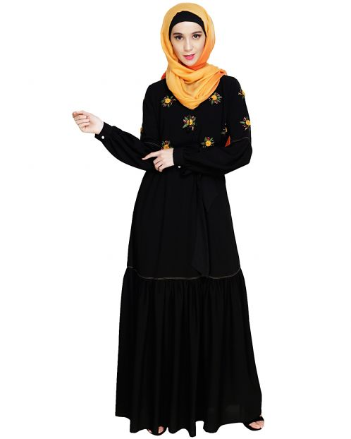 Dreamy Floral Embroiderd Black Abaya