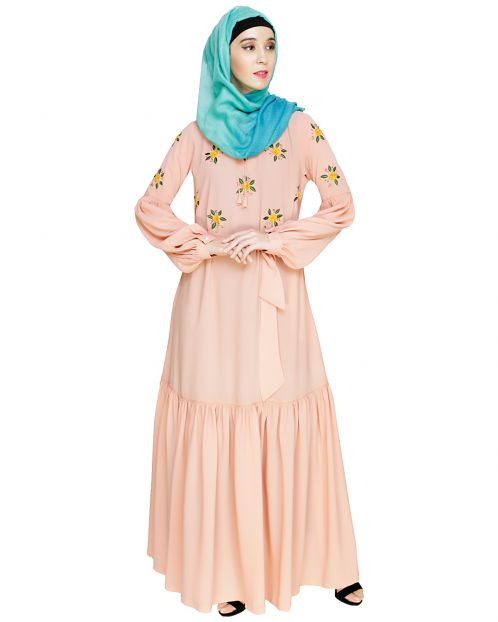Dreamy Floral Embroiderd Peach Abaya