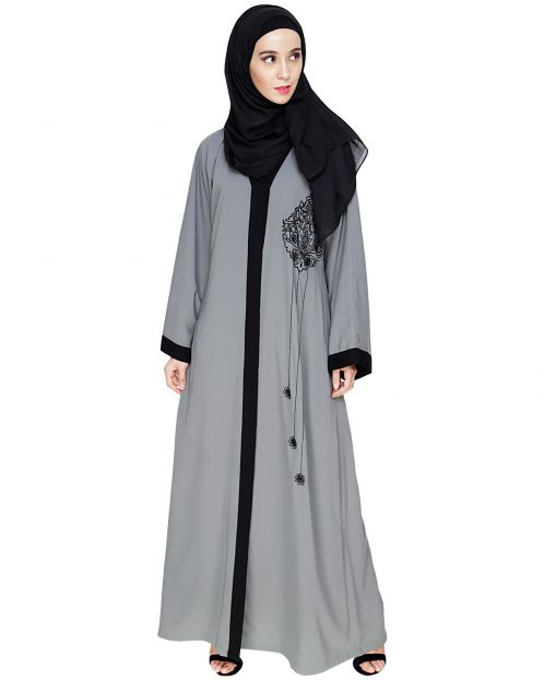 Contrast Embroidered Grey Dubai Style Abaya