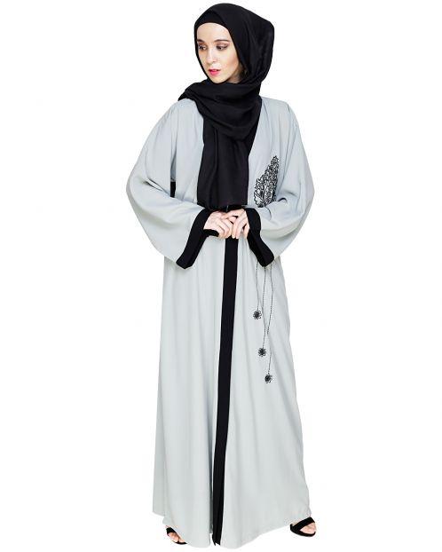 Contrast Embroidered Sage Green Dubai Style Abaya