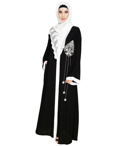Contrast Embroidered Black Dubai Style Abaya