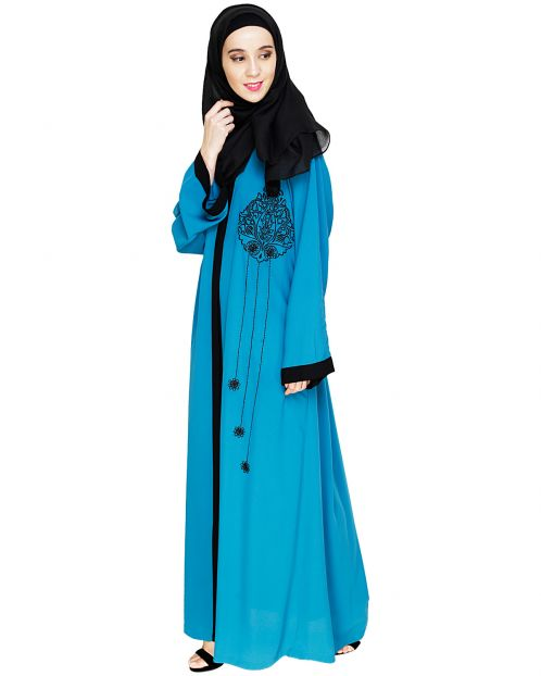 Contrast Embroidered  Teal Blue Dubai Style Abaya