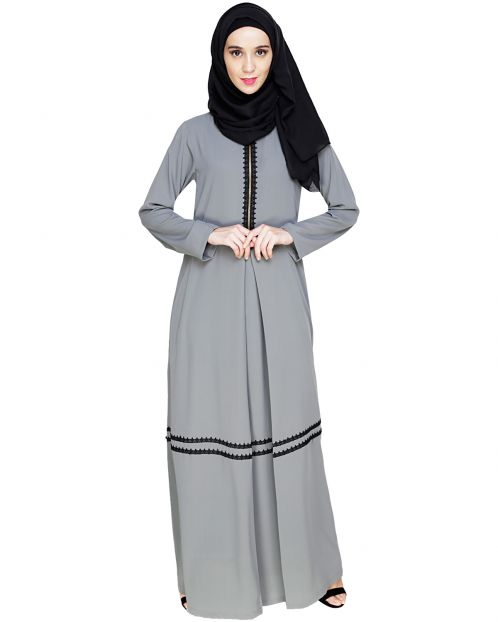 Graceful Lacy Grey Abaya
