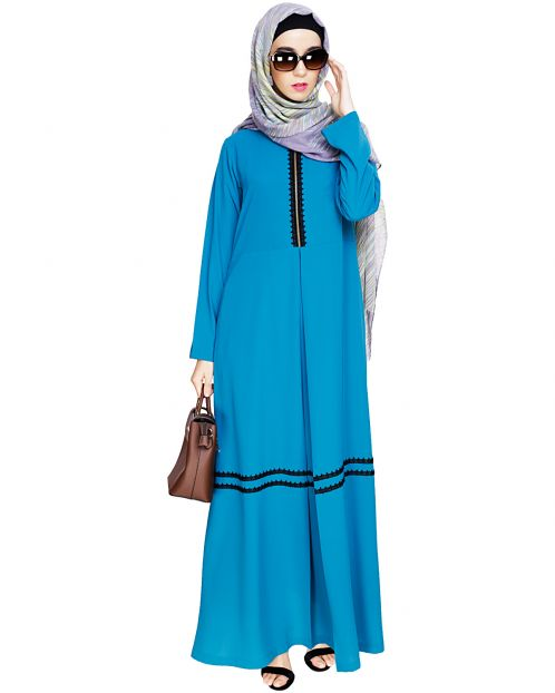 Graceful Lacy Teal Blue Abaya