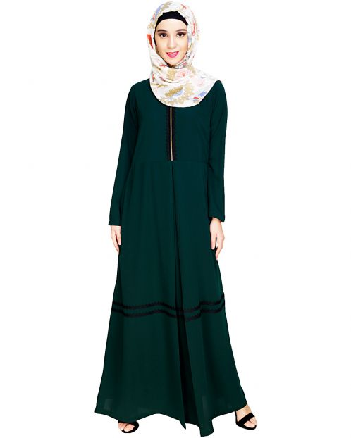 Graceful Lacy Green Abaya
