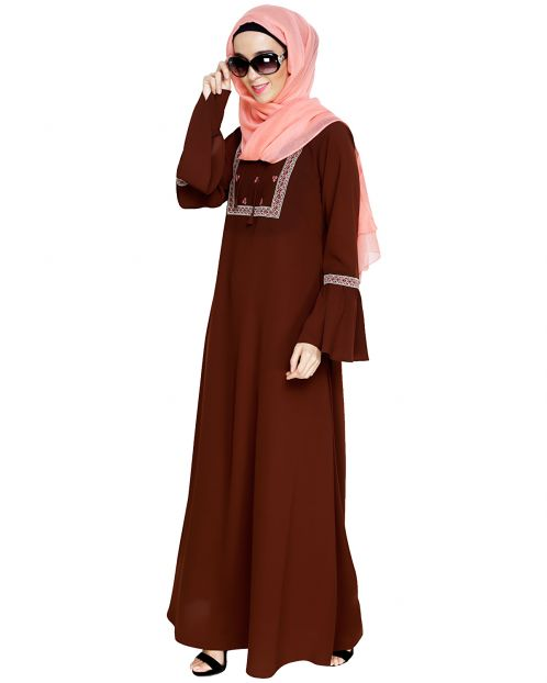 Boho Embroidered Brown Abaya