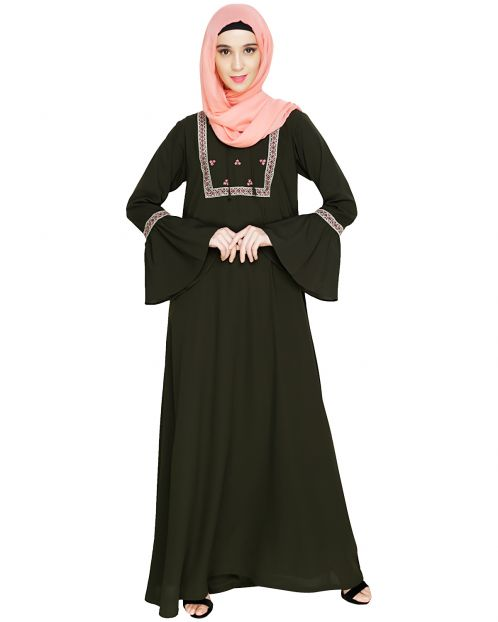 Boho Embroidered Olive Abaya