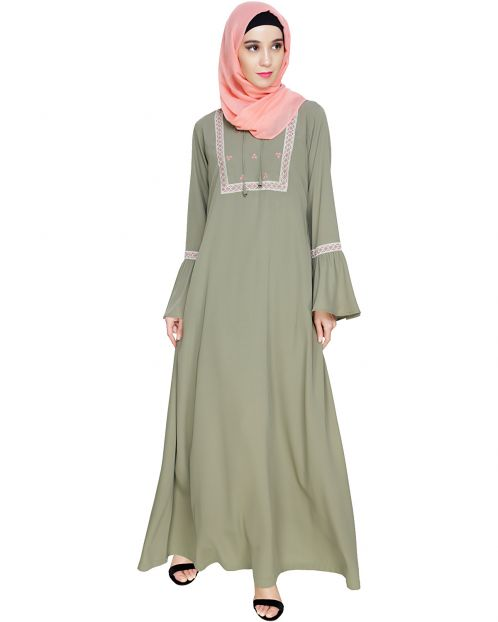 Boho Embroidered Dead Mint Abaya
