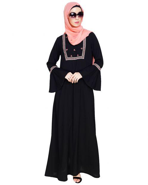 Boho Embroidered Black Abaya
