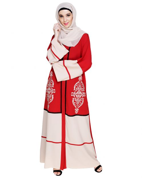 Flamboyant Embroidered Red Dubai Style Abaya