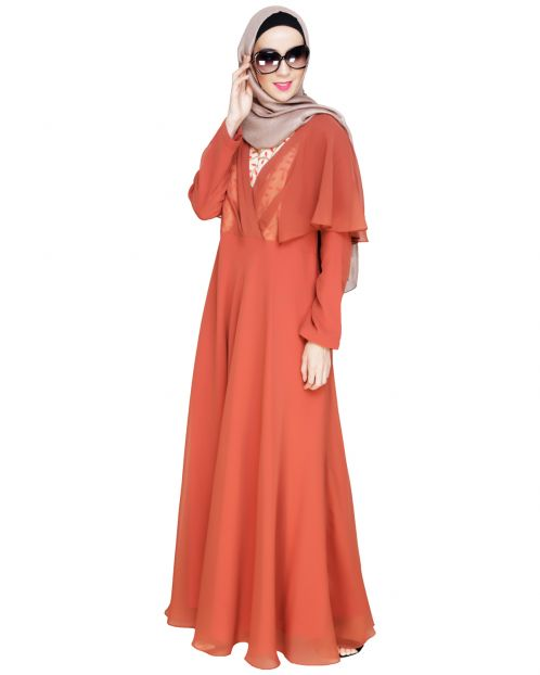 Mesmerising Draped Brick Red Abaya Dress