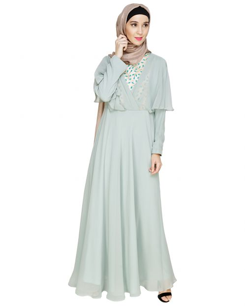 Mesmerising Draped Sage Green Abaya Dress