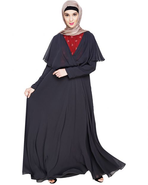 Mesmerising Draped Charcoal Grey Abaya Dress